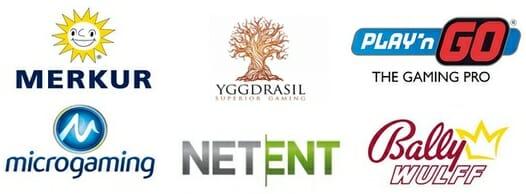 NetEnt, Merkur, Play`n Go, Bally Wullf, Yggdrasil und Amaya